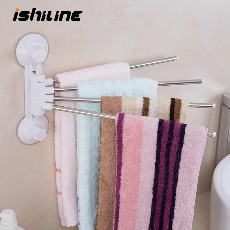 Stainless Steel Towel Rack Rotating Towel Bar Bathroom Shelf Wall-mounted Towel Storage Holder Bathroom Product Organizer