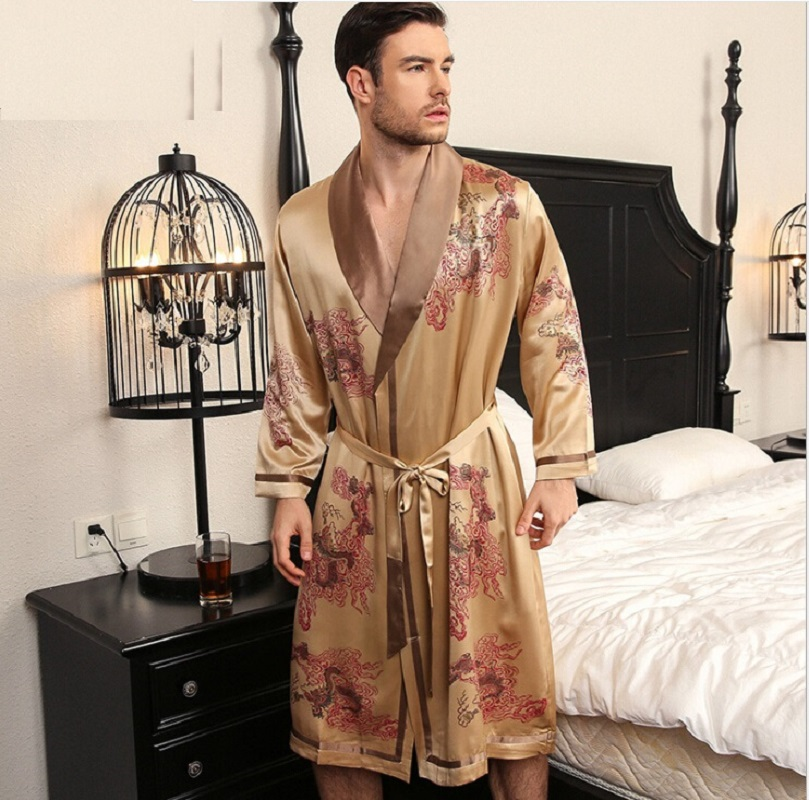 Silk Robe Gown Set Men Summer Spring 2019 Two Piece Sets Homewear Man Silk Sleepshirt Bathrobe Gown Set Male Sleepwear 2XL