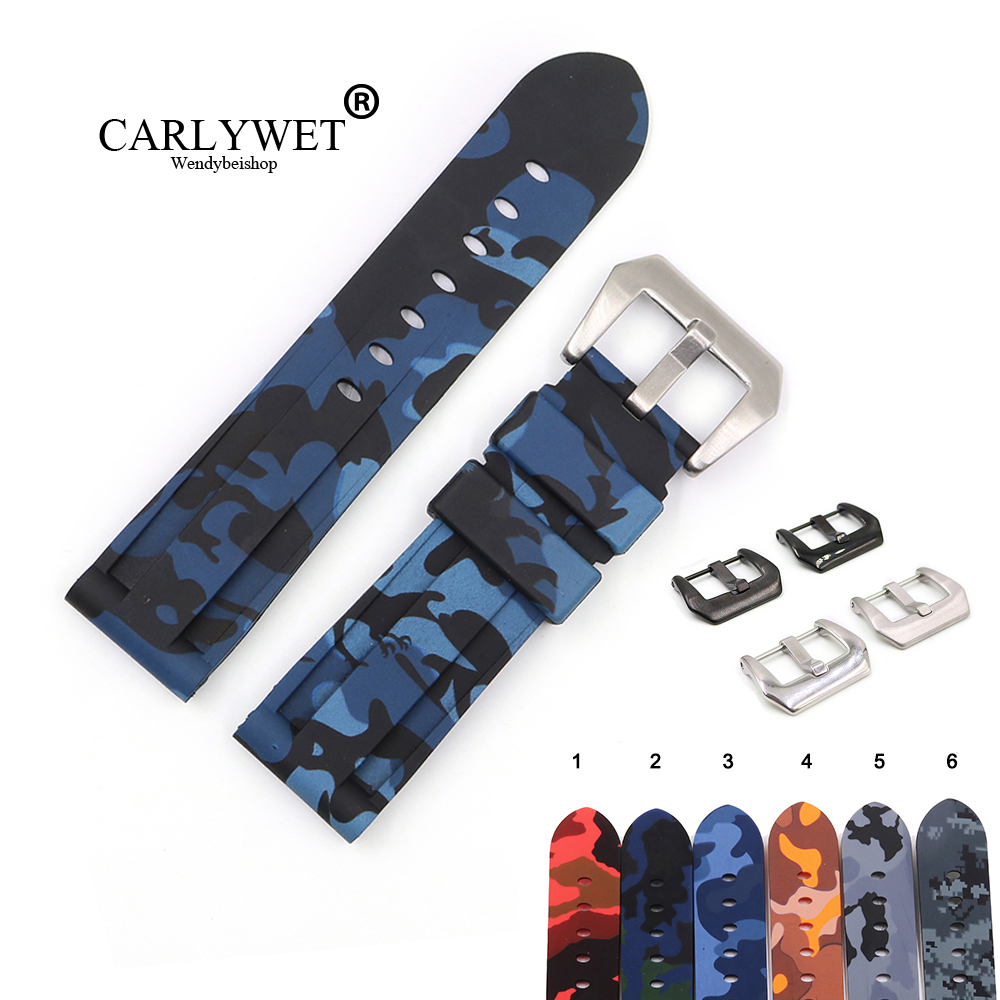 CARLYWET 22 24mm Camo Blue Black Grey Red Waterproof Silicone Rubber Replacement Watch Band Loops Strap For Panerai Luminor(China)