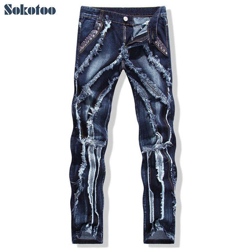 Sokotoo Men's Fashion Patchwork Spliced Ripped Jeans Male Personality Leather Rivet Slim Straight Denim Pants Free Shipping