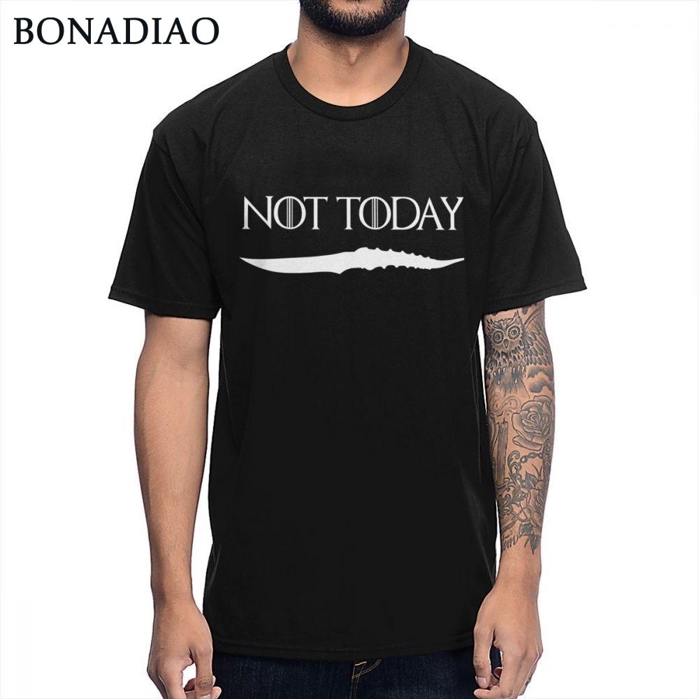 NOT TODAY ARYA STARK GAME OF THRONES   T     Shirt   Faceless Men the House of Black and White Novelty Design   T  -  shirt