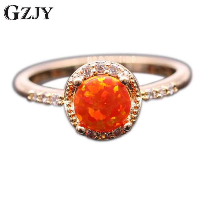 gzjy beautiful cute simple round jewelry orange fire opal ring champagne gold color zircon wedding ring - Opal Wedding Ring
