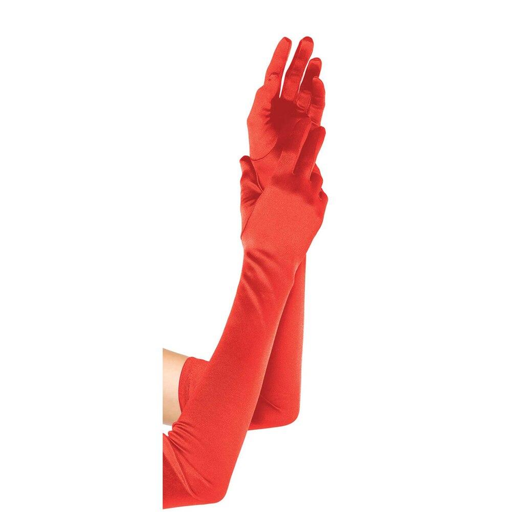 1 Paar 22 Zoll Frauen Sexy Satin Handschuhe Elegante Lange Handschuhe Für Hochzeit Bankett Party Leistung Rot Bunte Dinge FüR Die Menschen Bequem Machen