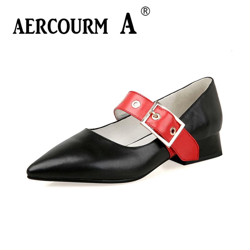 Aercourm A 2018 Women Metal buckle Shoes Pointed Toe Leather Low Heel Shoes Pumps Ladies Casual Shoes Solid Color YWE10301-12 women ladies flats vintage pu leather loafers pointed toe silver metal design