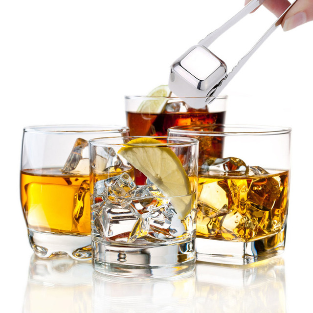 8Pcs/lot Whiskey Wine Beer Stones 440C Stainless Steel Cooler Stone  Ice Cube Edible Alcohol Physical Chiller Stone