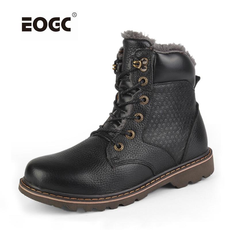 Kulit gandum penuh sepatu pria, Super hangat musim dingin mewah, Buatan tangan pria plus ukuran sepatu salju tahan air Dropshipping