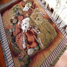 Медведь потертый шик vintage одеяло для досуга грубой хлопковое покрывало для кровати диван полотенце гостиная, спальня Войлок гобелен, ковер 130x160 см