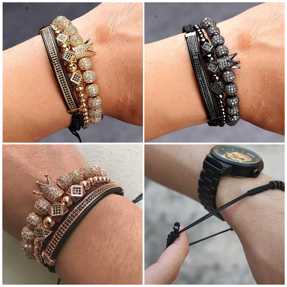 3pcs/Set Punk CZ Micro Pave Crown Beads Bracelet For Men Women Braided Rope Chain Luxury Fashion Jewelry Gift Resize 16-25cm