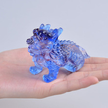 Small Blue Kylin Chinese Feng Shui Liuli Art&Collectible Gift Crafts Azure Stone Paperweight Home Decor