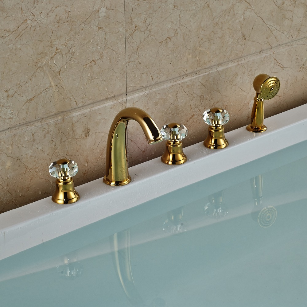 Gold Widespread 5PCS Bathroom Tub Faucet Three Handles + Brass Hand Shower +59 Shower Hose shower hose sea pioneer 1 5m anti explosion stainless steel shower hose with solid brass