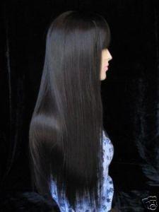 fine Stylish long straight women's black full wig wigs