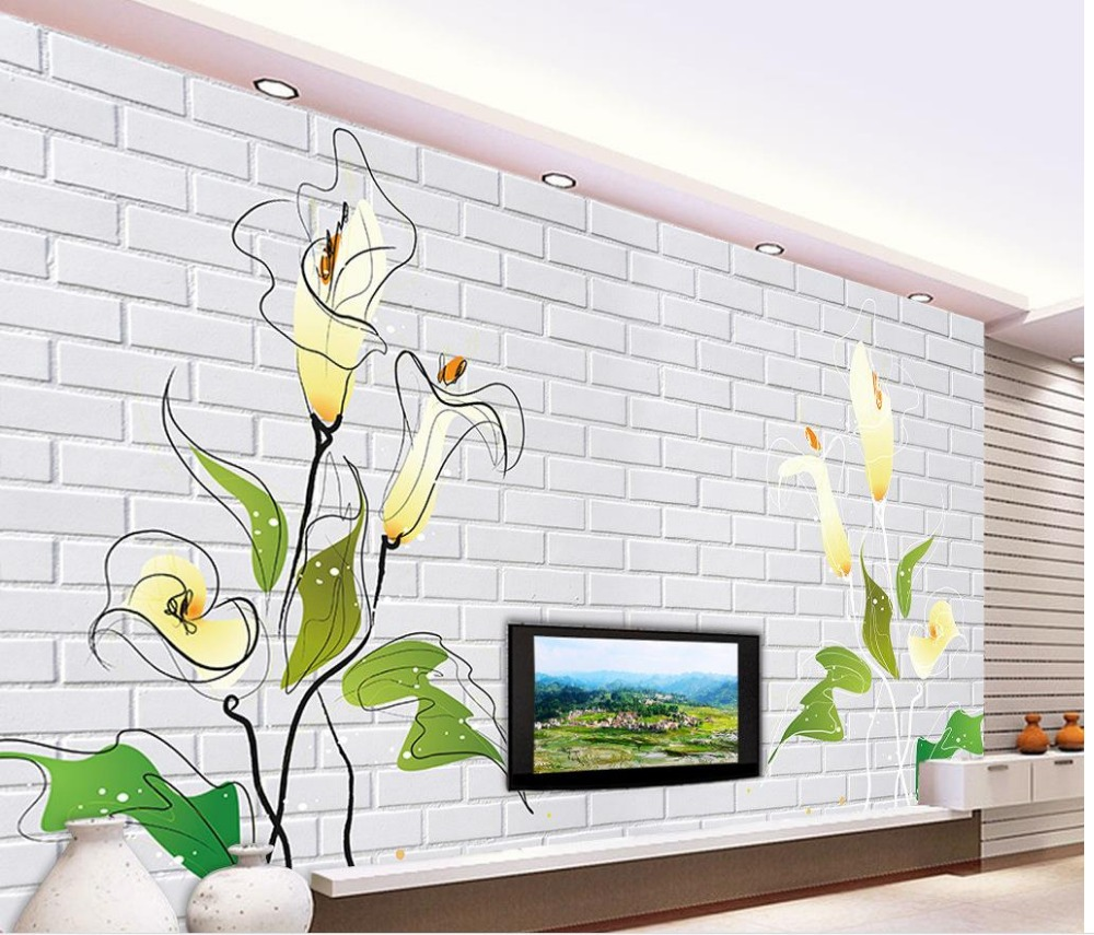 online get cheap tulip wall mural aliexpress com alibaba group decorative brick wall tulip 3d wall murals wallpaper custom 3d photo wallpaper customized wallpaper for walls