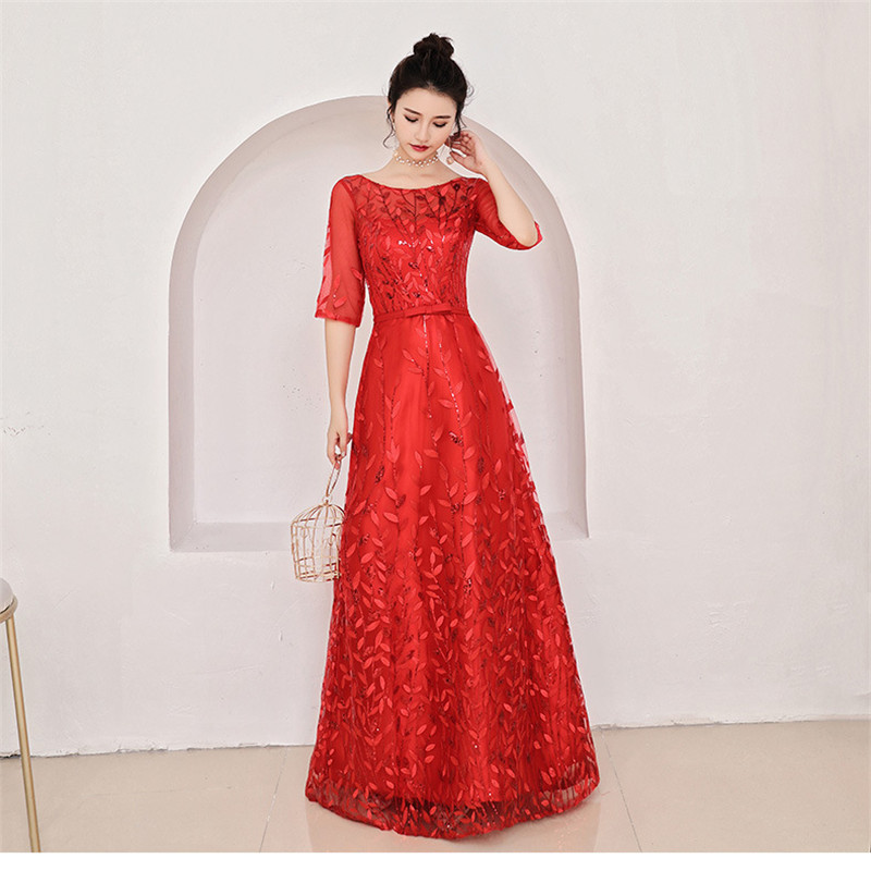 Beauty-Emily Long Draped   Evening     Dress   Party   Dress   Lace Half Sleeve Round Neck Appliques Tulle Open Back Prom Gowns For Wedding