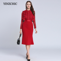 Fashion Woman Winter Mid Dress Lace Patched Office Lady Mid Mermaid Dress Burgundy Trumpet Dress For Womans Party Street Dress