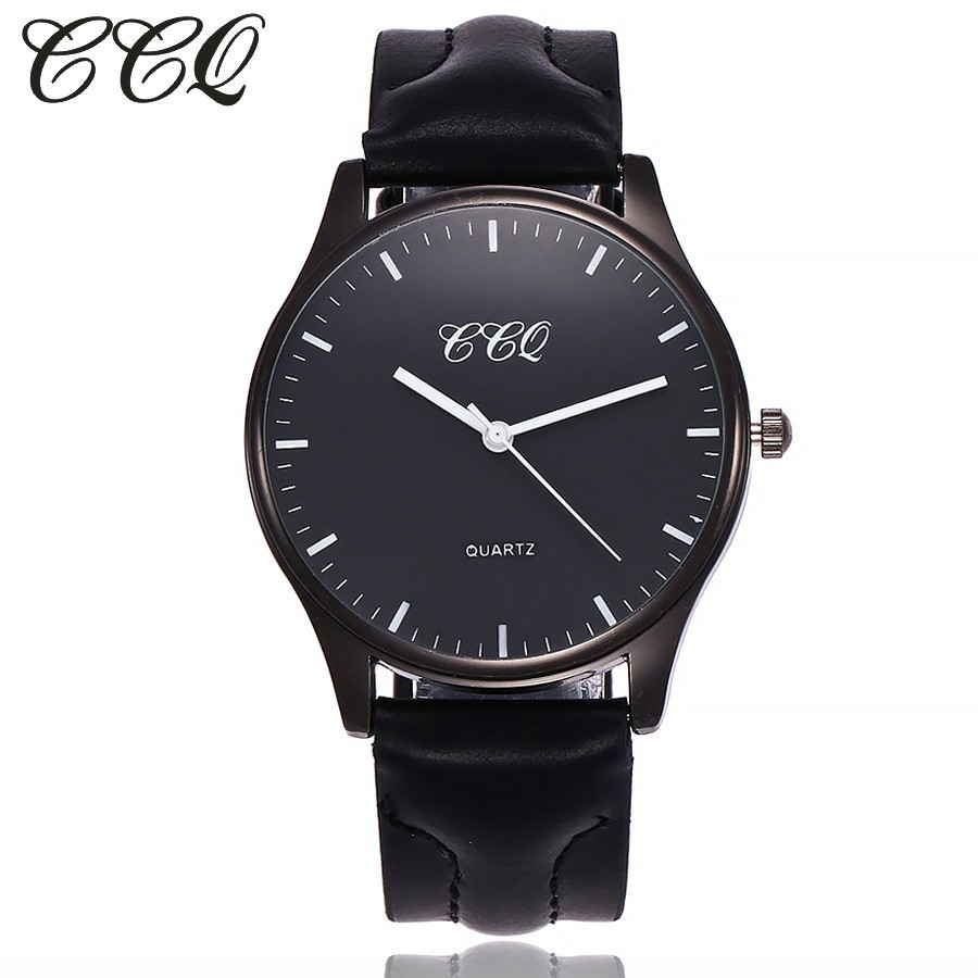 CCQ Women Men Watch Luxury Brand Leather Black Case Simple Watches Clock Female Man Sport Clock Business Watches Gift