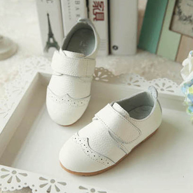 2017 Spring Cutout Genuine Leather Kids Girls Casual Shoes Hollow out Leather Children Girl Casual Shoes British Girls Shoes