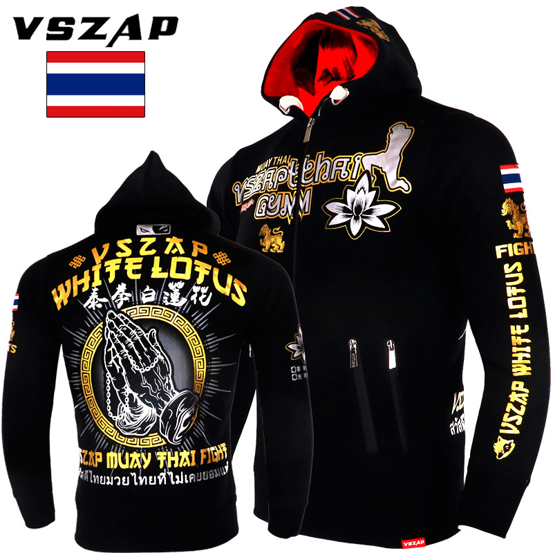 VSZAP MMA Rock Hoodies Warm Winter Jacket Long Sleeve Hooded Sweatshirt Kick