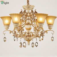 2015 European Vintage Painting Resin Frosted Glass Chandelier Simple LED Chandelier With 3W Led Lighting Source
