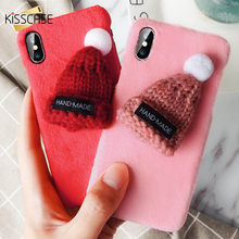 Kisscase 11 Pro Hoed Girly Warm Pluche Soft Case Voor Iphone 11/11 Pro Max Xr X Xs Max 6/ 6 S/7/8 Plus Back Cover Gift Coque Fundas(China)