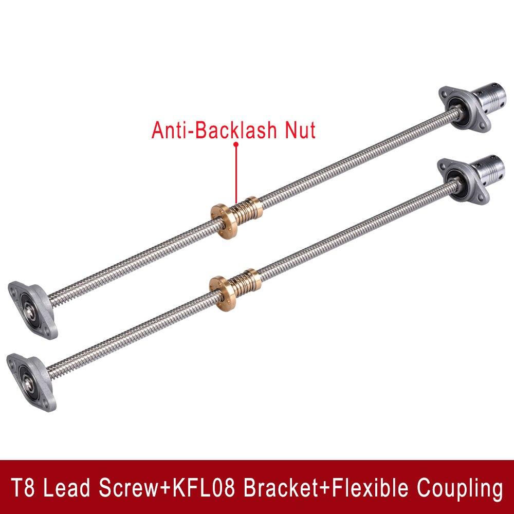 T8 parafuso de chumbo 8mm 300/350/350/380/400/500mm + porca anti-folga + suporte de rolamento kfl08 + acoplamento flexível peças de impressora 3d e cnc