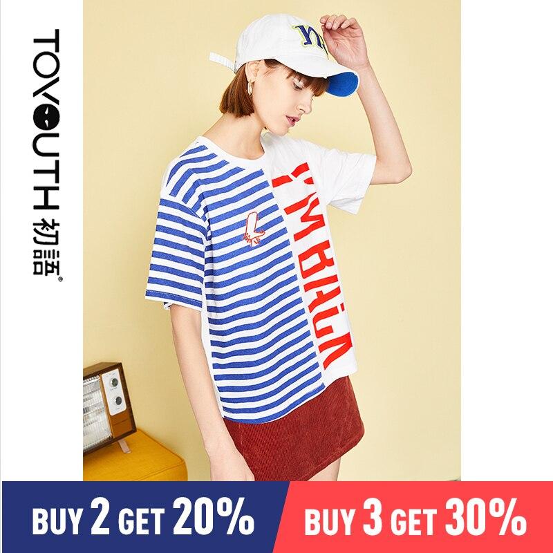 Toyouth Striped T Shirt Harajuku T Shirt Women Letter Printed T shirt Fashion Short Sleeve Cotton Tshirt Kawaii Top Tees Female