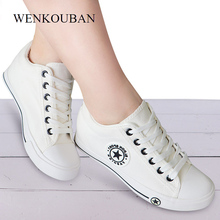 Summer Wedge Sneakers Women Casual Canvas Shoes Female White