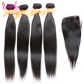 Peruvian Virgin Hair Straight With Lace Closure 4 Bundles With Closure Straight Human Hair Extension Bundle Deals With Closure