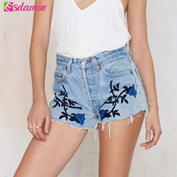 New 2017 fashion blue rose embroidery denim shorts 3d flower high waist jeans short femme summer.jpg 250x250