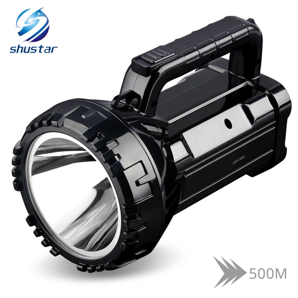 Rechargeable Bright LED Flashlight Torch 20W High powered searchlights Built-in 2800mAh lithium battery Two working modes