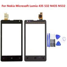 لنوكيا مايكروسوفت ميا 435 532 N435 N532 شاشة اللمس الاستشعار عرض lcd لوحة زجاج استبدال