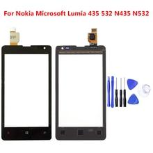 Dla Nokia Microsoft Lumia 435 532 N435 N532 czujnik ekranu dotykowego wyświetlacz LCD szkło Digitizer zamiennik panelu dotykowego