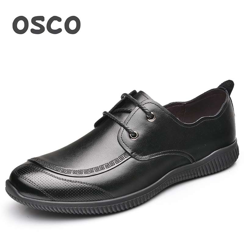 OSCO Brand Men Shoes Summer British Business Casual Shoes Genuine Leather Breathable Lace-Up Wild Office Work Flat Shoes osco spring summer business casual shoes wild lazy shoes british genuine leather breathable bean shoes men driving pedal loafer