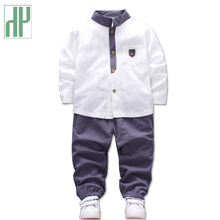 HH Children clothing sets Shirts Pants 2pcs linen baby clothes autumn winter boutique kids clothing toddler girls boys outfits цена в Москве и Питере