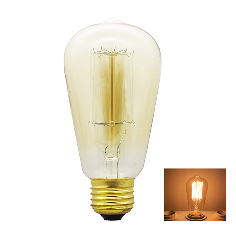 retro lamp st64 st58 vintage dimmable bulb e27 incandescent bulb 220v holiday lights 40w filament lamp - Home Decor Lights