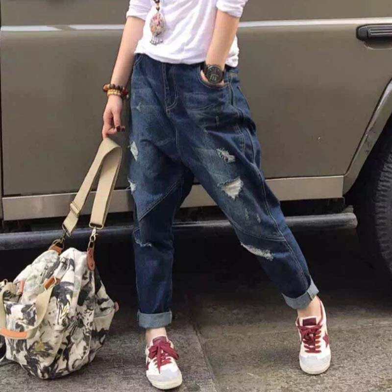 Ripped Jeans Women Harem Hip Hop Denim Pants Loose Baggy Jeans Casual Trousers YSBS-in Jeans ...