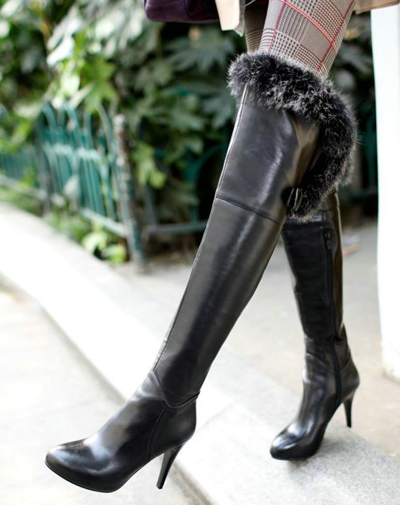 Sexy above the knee fur boots