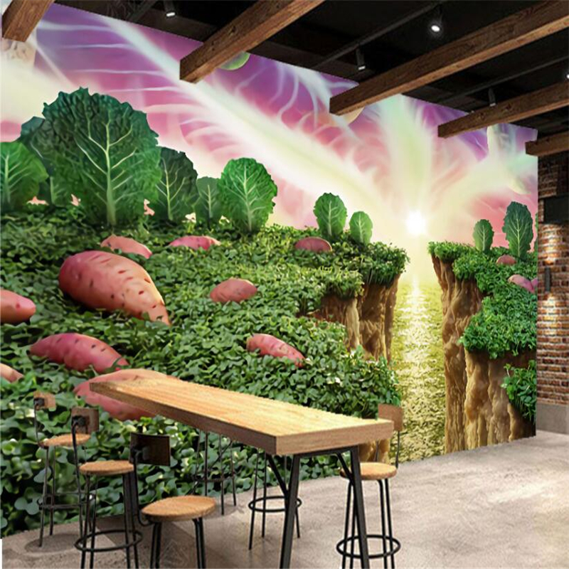 Beibehang Hand-painted sweet potato vegetable creative restaurant supermarket fruit shop wall custom large mural green wallpaper