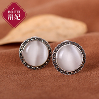 Natural semi precious stones Princess white Opal ear nail Vintage 925 Sterling Silver stud Earrings round Royal palace style
