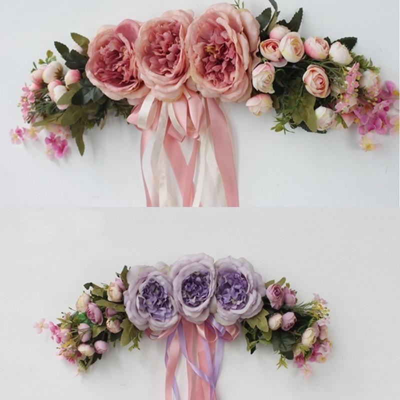 Artificial Silk Rose Flower Door Wreath Handmade Flower Garland With Green Leaves Door Trim Garishness Wedding Home Party Decor