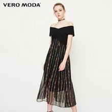 Vero Moda Nữ OFF VAI Dệt Kim Chia Áo Đầm Tay Ngắn