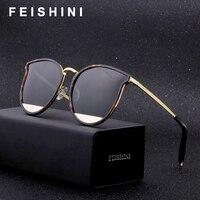 Женские поляризационные солнцезащитные очки FEISHINI  поляризационные очки с медной оправой и защитой UV400  брендовые дизайнерские солнцезащит...