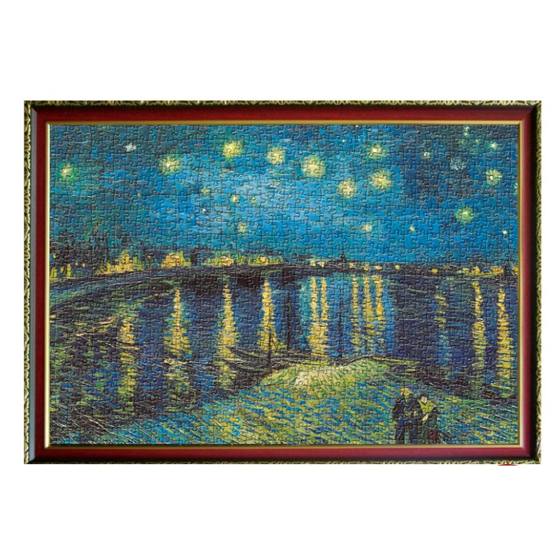 DIY Educational Decompression Toy Puzzle 2000 st Old Master Oil Painting Rhone Starry Night Paper Puzzle för vuxen