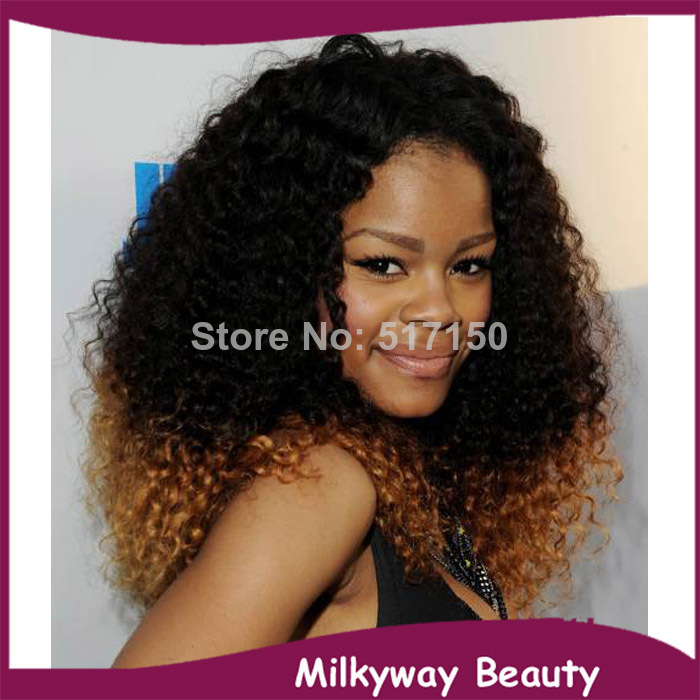 2014 new afro curl kinky curly two tone color 1b 30 heat resistant synthetic lace front