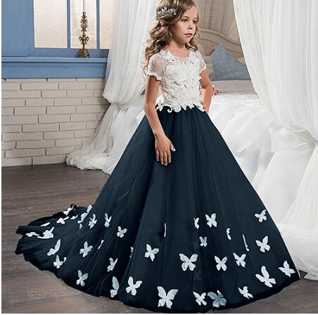 Navy Blue Flower Girl Dresses With Butterfly Short Sleeves Ball Gown O-Neck Girls First Communion Gown Girls Pageant Dress navy random feathers print v neck short sleeves slit hem maxi dress