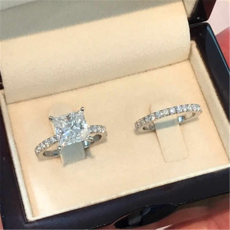 Modyle Fashion Silver Color Rings Set For Women Jewelry Simple Design Square Zircon Bridal Wedding Engagement Ring Bijoux