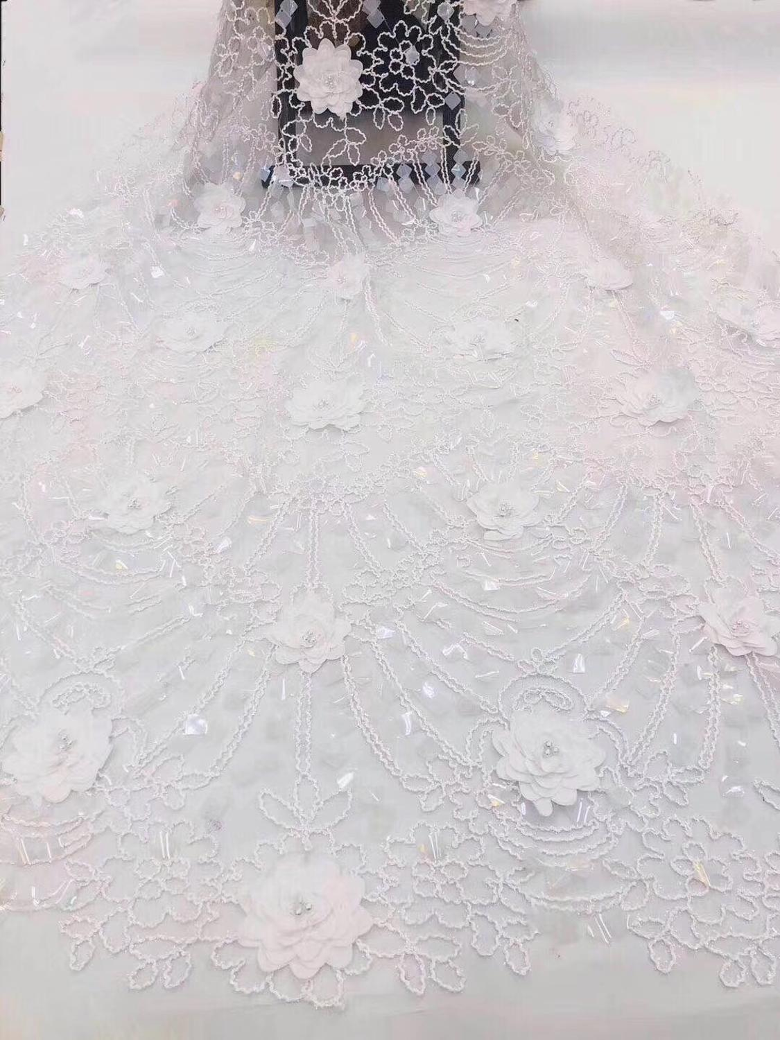 Black african lace fabric 2019 high quality lace french mesh fabric sequins nigerian swiss 3d lace fabrics for dress green Pink