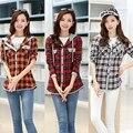 2015 женщин ткань вскользь тонкие с длинным рукавом клетчатую рубашку с капюшоном рубашка женская