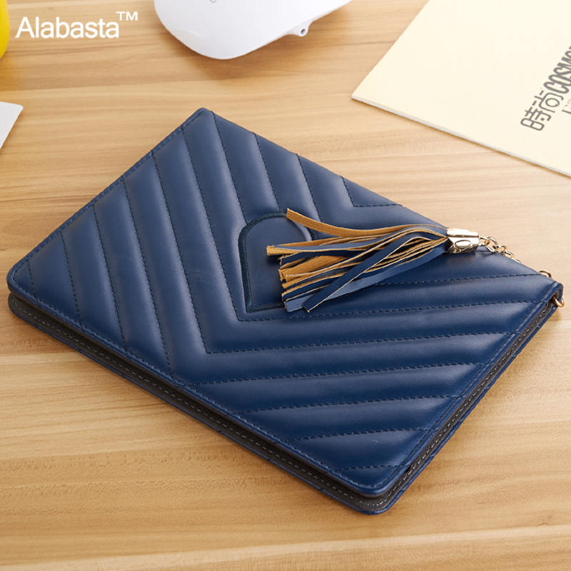 Alabasta for Funda Cover iPad 2017 case 9.7 inch Luxury Grid Tassels Rhinestone Bag Stand Protector Leather Surface Shield case for funda ipad pro 12 9 luxury business leather case tablet 12 9 inch wake up hand belt holder stand flip bags alabasta