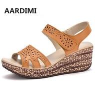 HOT Genuine Leather Platform Sandals Women Fashion Wedges Sandals Woman Solid Gladiator Sandals Women Creepers Sandalias