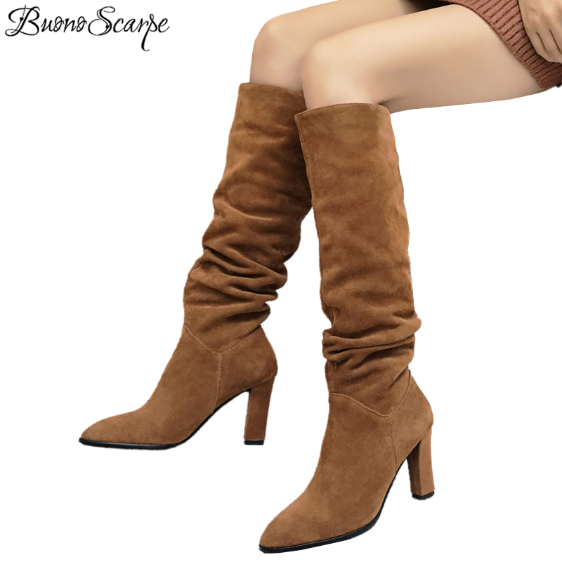 BuonoScarpe Women Pleated Knee High Long Boots Slip On Real Suede Leather High Heel Botas Mujer